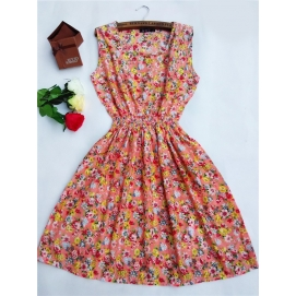 Vestido Estampado Verano-Otoño Floral Naranja