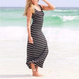 Vestido de Playa Largo a Rayas Negro