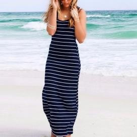 Vestido de Playa Largo a Rayas Azul