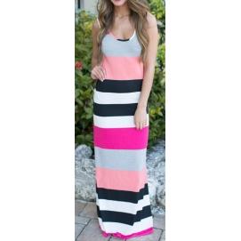 Vestido de Playa Largo Rayas Rosa