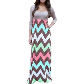 Vestido de Playa Largo Gris Manga Larga