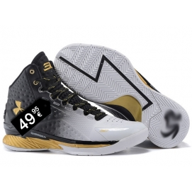 Zapatillas UA Curry One Degradado Negro-Blanco y Dorado