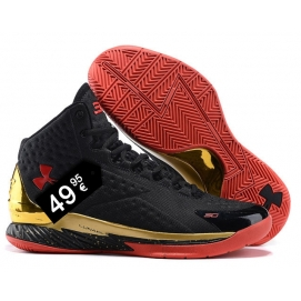 Zapatillas UA Curry One Negro, Rojo y Dorado