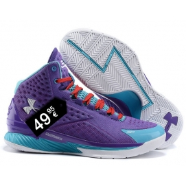 Zapatillas UA Curry One Violeta, Azul y Blanco