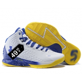 Zapatillas UA Curry One Blanco, Azul y Amarillo (Salpicada)