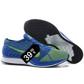 Zapatillas NK Flyknit Racer Azul y Amarillo Fluor