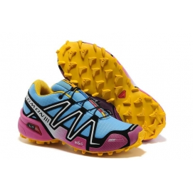 Zapatillas Salmon Speed Cross 3 Celeste, Rosa y Amarillo