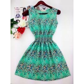 Vestido Estampado Verano-Otoño Floral Verde