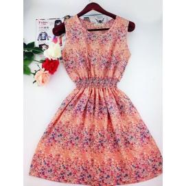 Vestido Estampado Verano-Otoño Floral Coral