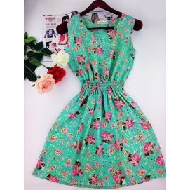 Vestido Estampado Verano-Otoño Floral Tuquesa