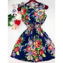 Vestido Estampado Verano-Otoño Floral Azul
