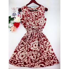 Vestido Estampado Victoriano Verano-Otoño Rojo