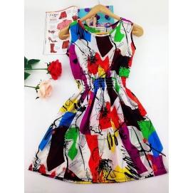 Vestido Estampado Verano-Otoño Abstracto