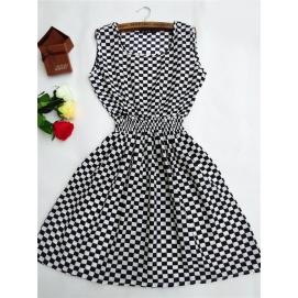 Vestido Estampado Verano-Otoño Cuadros Blanco y Negro