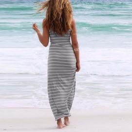Vestido de Playa Largo a Rayas Gris