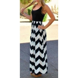 Vestido de Playa Largo Blanco y Negro