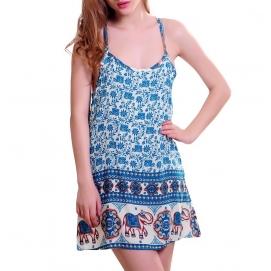 Vestido de Playa Floral Azul