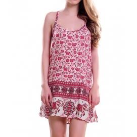 Vestido de Playa Floral Rojo