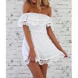Vestido de Encaje Hombros Caidos Blanco