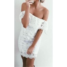 Vestido de Encaje Cuello Amplio Blanco