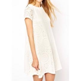 Vestido de Encaje Amplio Blanco
