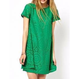 Vestido de Encaje Amplio Verde