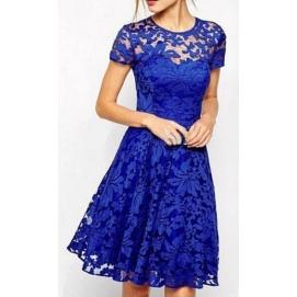 Vestido de Encaje Floral Azul