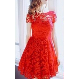 Vestido de Encaje Floral Rojo