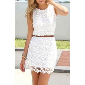 Vestido de Encaje Floral Blanco