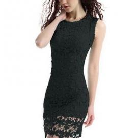 Vestido de Encaje Floral Negro