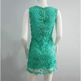 Vestido de Encaje Floral Turquesa