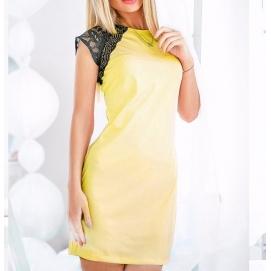 Vestido Hombros de Encaje Amarillo