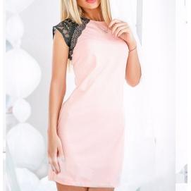 Vestido Hombros de Encaje Rosa