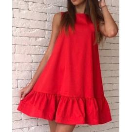 Vestido Casual Volantes Rojo