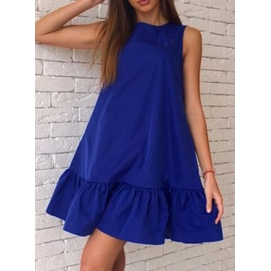 Vestido Casual Volantes Azul