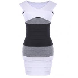 Vestido de Punto Hombros Caidos Blanco y Negro
