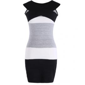 Vestido de Punto Hombros Caidos Negro y Blanco
