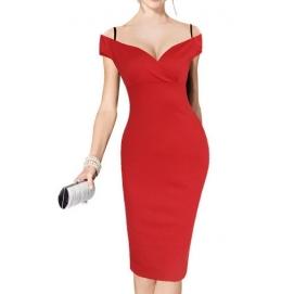 Vestido Hombros Caidos Rojo