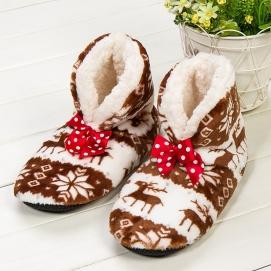 High Christmas Slippers Brown (Ribbon)