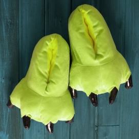 Lime Green Paw Slippers