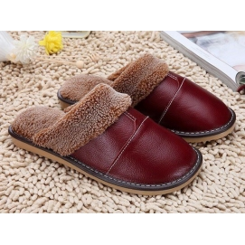 Leather and Wool Garnet Slippers
