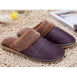 Zapatillas de Cuero y Lana Morado