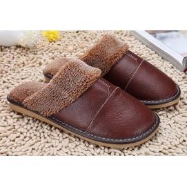 Zapatillas de Cuero y Lana Marrón
