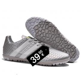 Zapatillas AD ACE 16.1 TF Blanco y Plata