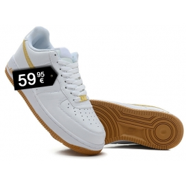 Zapatillas NK Air Force 1 Blanco y Dorado (Bajas)