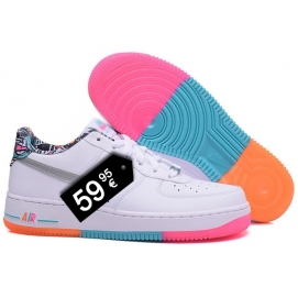 Zapatillas NK Air Force 1 Blanco y Tricolor (Bajas)