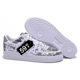 Zapatillas NK Air Force 1 Blanco y Gris (Bajas)