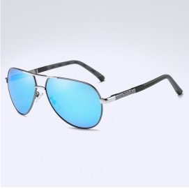 Gafas de Sol Polarizadas BARCUR - Plateado (Lentes Azules)