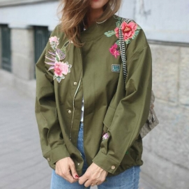 Chaqueta Flores 3D - Verde Miltar