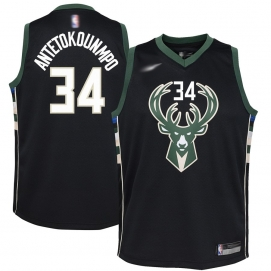 Camiseta Milwaukee Bucks Antetokounmpo Equipación Negra